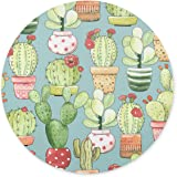 TuMeimei Non-Slip Rubber Round Mouse Pad,Cacti in pots on turquoise Design Round mouse pad (7.87 inch x 7.87 inch)