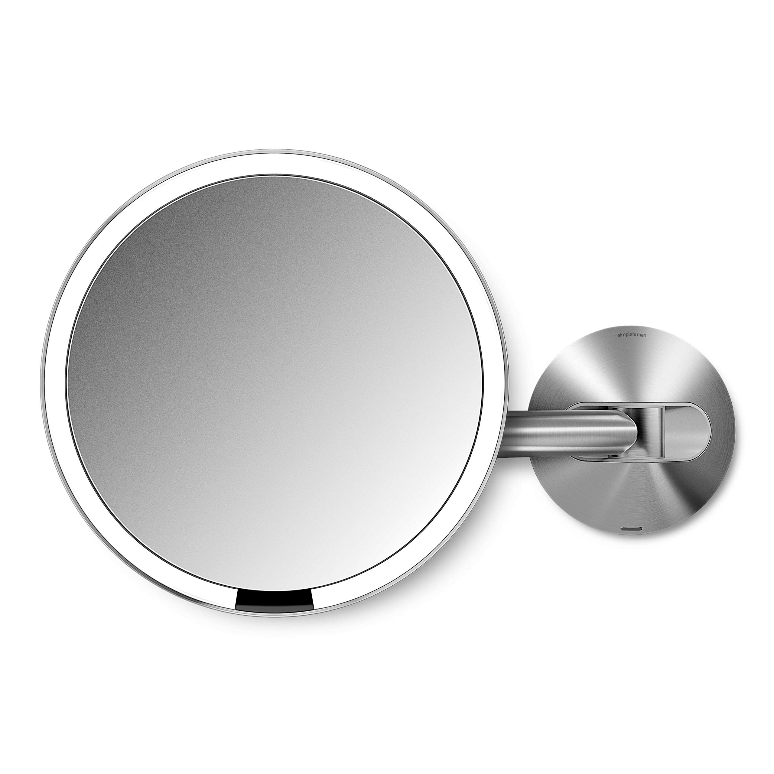 simplehuman Sensor Lighted Makeup Vanity Mirror 8'' Round Wall Mount, 5x Magnification, Stainless Steel, Rechargeable And Cordless by simplehuman