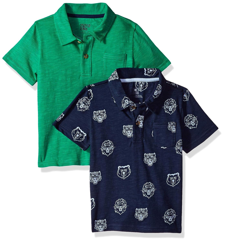 Spotted Zebra Boys' 2-Pack Slub Jersey Short-Sleeve Polo Shirts
