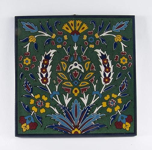 . Amazon com  Ceramic wall tile hanging Armenian decor flowers tiles