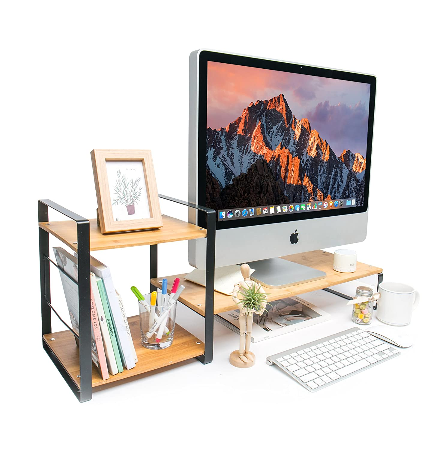MK363A JackCubeDesign Bamboo Monitor Stand Computer Riser Laptop Desktop Storage Organiser Phone Board with 2-Tier Compartments and Keyboard Storage Space