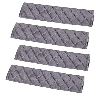 Forala 4pcs/Pack Car Seatbelt Pads Gray Soft Velvet Shoulder Strap Belt Covers Harness Protector for Cars/Bags/Cameras/Warm Winter Stress Relax for Your Neck: Automotive