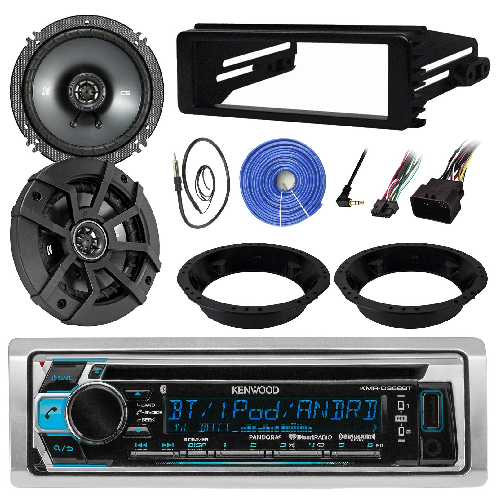 Kenwood KMR-D368BT Stereo CD Receiver Bundle Combo With 2x Kicker 6.5'' Speakers W/ Adapter Brackets, Dash Kit For 1998-2013 Harley Motorcycles + Enrock 22'' Radio Antenna + 50Ft 14g Speaker Wire