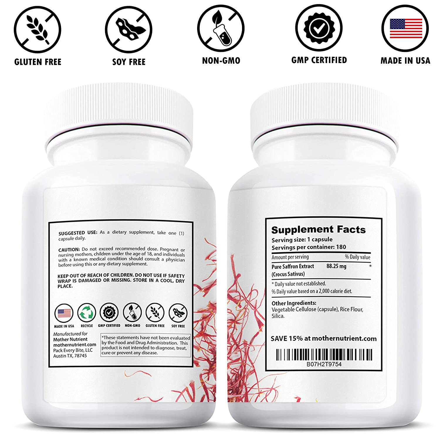 Saffron Supplement with 8825 mg of Saffron Extract, Crocus Sativus. 180 Capsules. Powerful Antioxidant Provides Mood Boost, Heart and Eye Health Support.