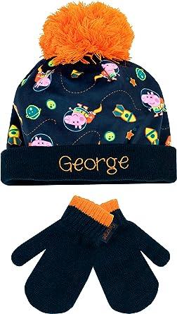 BOY/'S /& GIRL/'S CHARACTER WINTER POMPOM BOBBLE HAT /& GLOVE SET GOOD QUALITY
