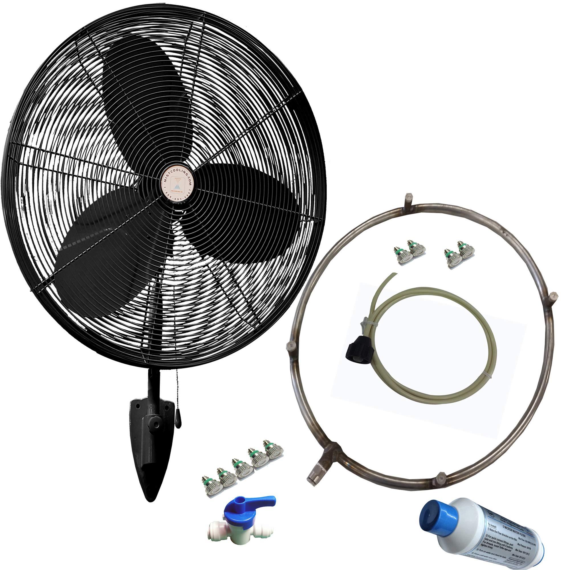 Outdoor Fan Industrial System Fan-Misting Fan - Patio Mist Fan - Outdoor Mist Fan - for Residential, Commercial, Restaurant and Industrial Misting Application (24 Inch Black Misting Fan) by mistcooling