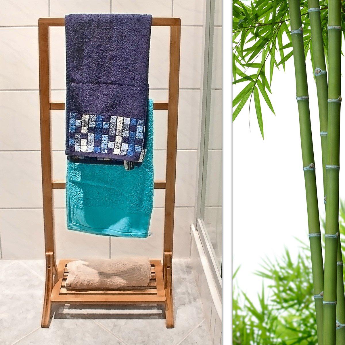 Relaxdays Handtuchhalter Bambus mit 3 Handtuchstangen und großer ...
