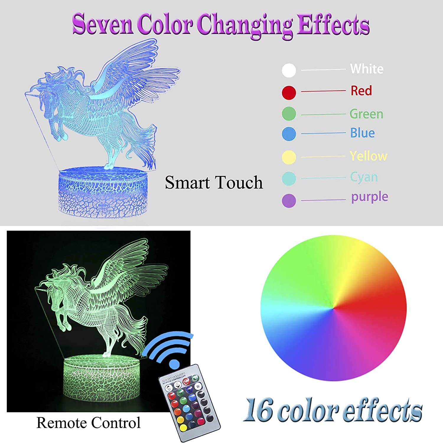 7 Colors Change with Remote Unicorn Toys for 3 4 5 6 7-10 Years Old Boys Girls Birthday Christmas Gifts for Kids Optical Illusion Table Lamp for Room Decor 16 Colors 3D Unicorn Night Light for Kids