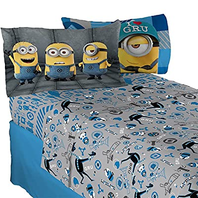 4pc Despicable Me Full Sheets Minions Follow Mel Bedding: Home & Kitchen