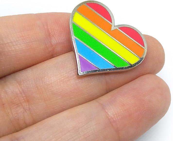 Amazon com: Compoco Pride Pin LGBTQ Gay Heart Flag an Enamel