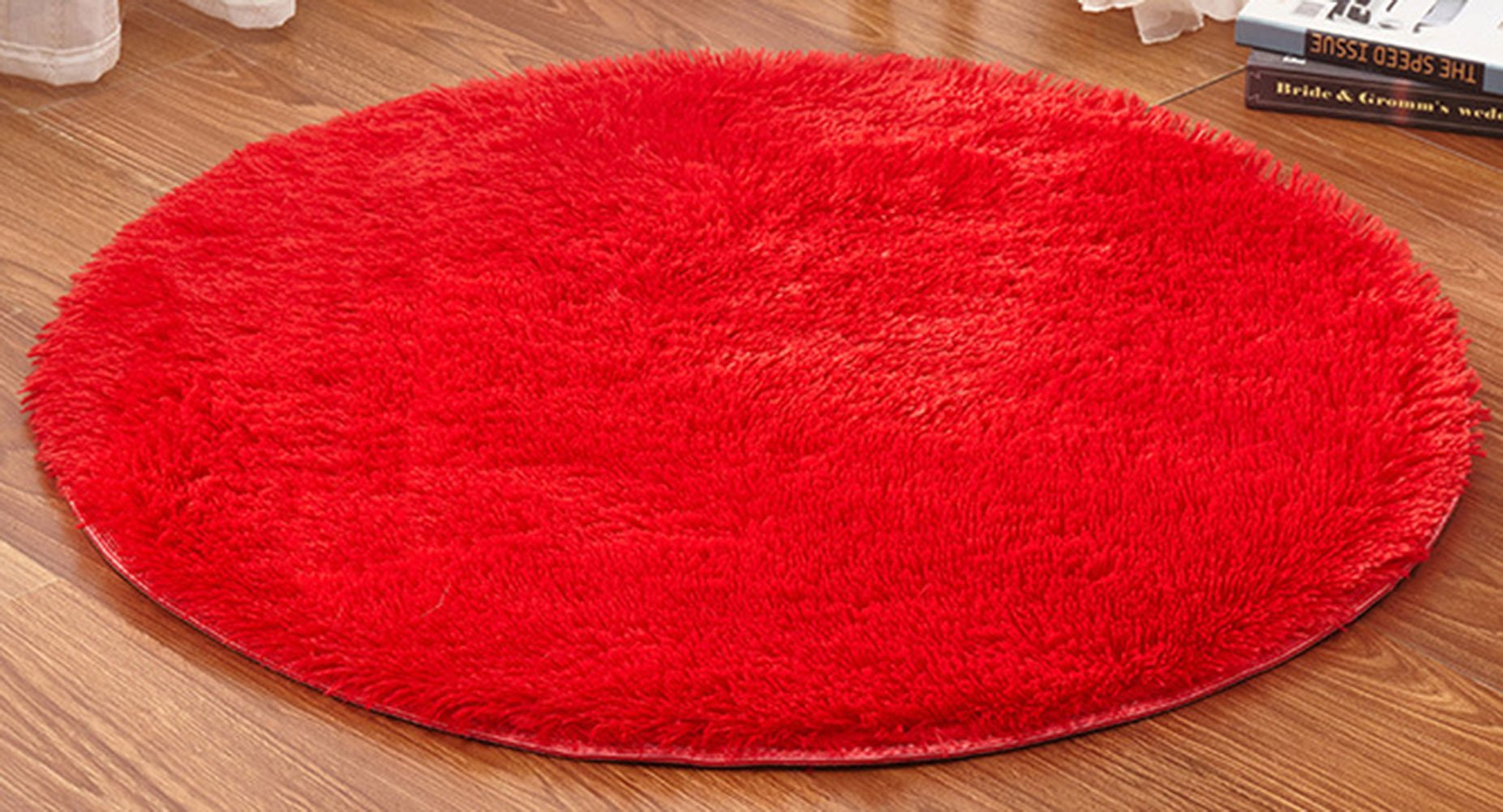 Happy Cool 47.0'' Round Long Wool Mat Runner Floor Rug Shaggy Oval Doormat Entry Carpet Front Entrance Indoor Outdoor Mats for Children Kid Play Room Decor Decorative Living Room Red