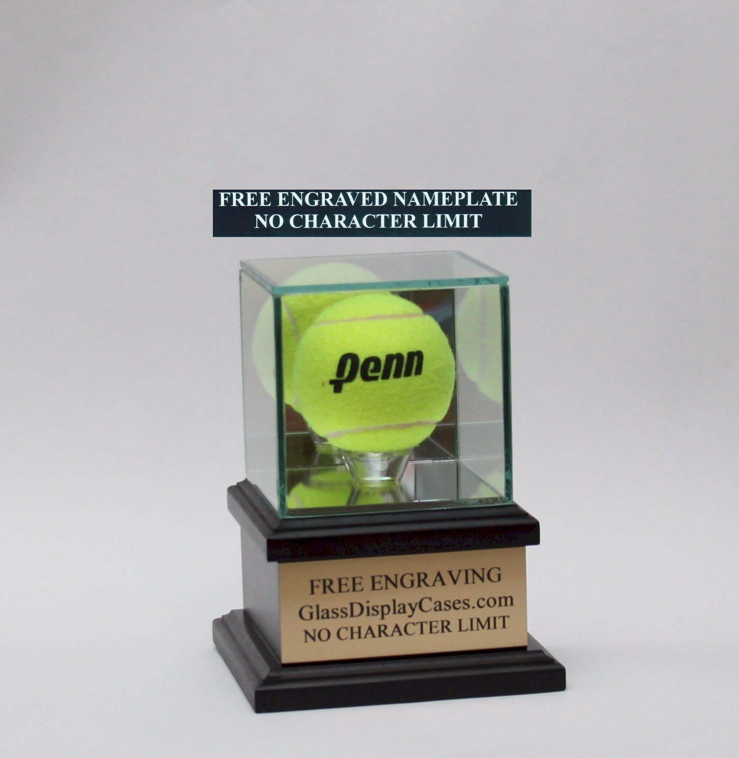 Tennis Ball Personalized Real Glass Display Case with Black Hardwood Platform Base & Free Engraving