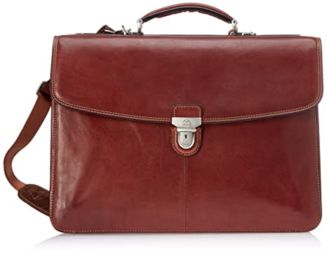 """ff645c02cfe Italian Leather 17"""" Laptop Business Briefcase Bag for Professionals  Triple Compartment Multi Organizational Pockets"""
