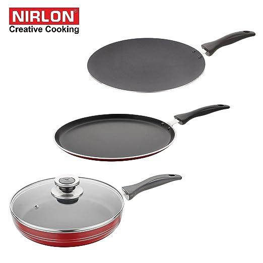 Nirlon Non-Stick Aluminium Cookware Set, 3-Pieces, Red (32mm_FT_CT_FP) Pot & Pan Sets at amazon
