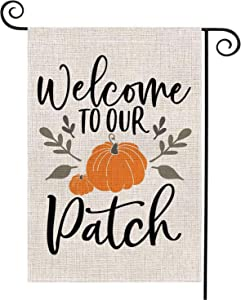 Mimacoo Welcome to Our Pumpkin Patch Garden Flag Vertical Double Sided,Seasonal Autumn Thanksgiving Garden Yard Banner Lawn Outdoor Decoration 12.5 x 18 Inch