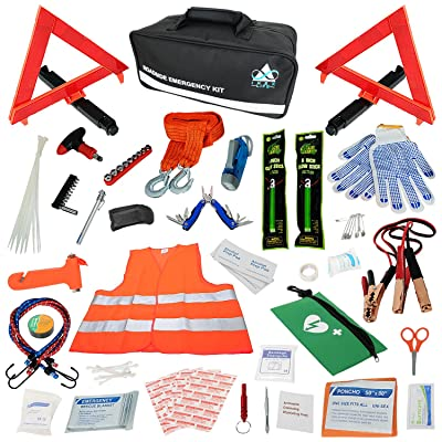Car Emergency Roadside Assistance Kit 112 Pieces - First Aid Kit, Premium Jumper Cables, Reflective Safety Triangle, Tow Strap, Tools, Warning Vest (Black): Automotive