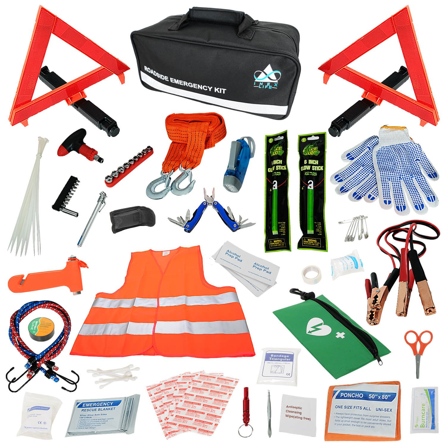 Car Emergency Roadside Assistance Kit 112 Pieces - First Aid Kit, Premium Jumper Cables, Reflective Safety Triangle, Tow Strap, Tools, Warning Vest | Ultimate All-In-One Survival Solution Auto, Truck