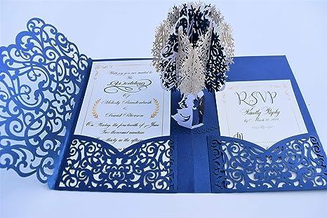 Pop Up Wedding Invitation Pocket Folds With Envelope Unique And Elegant Laser Cut 3d Design By Tada Cards Navy Blue Vintage 10 Pack