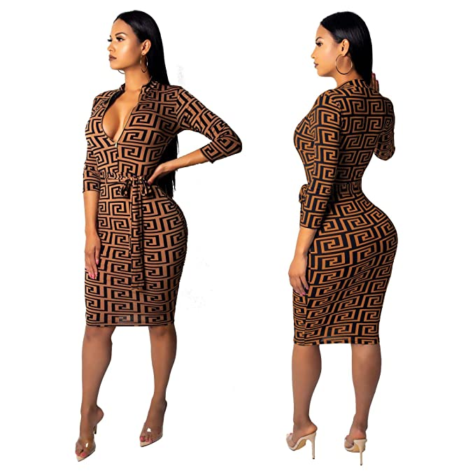 a5b43191941d Image Unavailable. Image not available for. Color  Hooyi Zipper Deep V-Neck  Sexy Women Dress Party Long Club Bodycon Dresses (Brown
