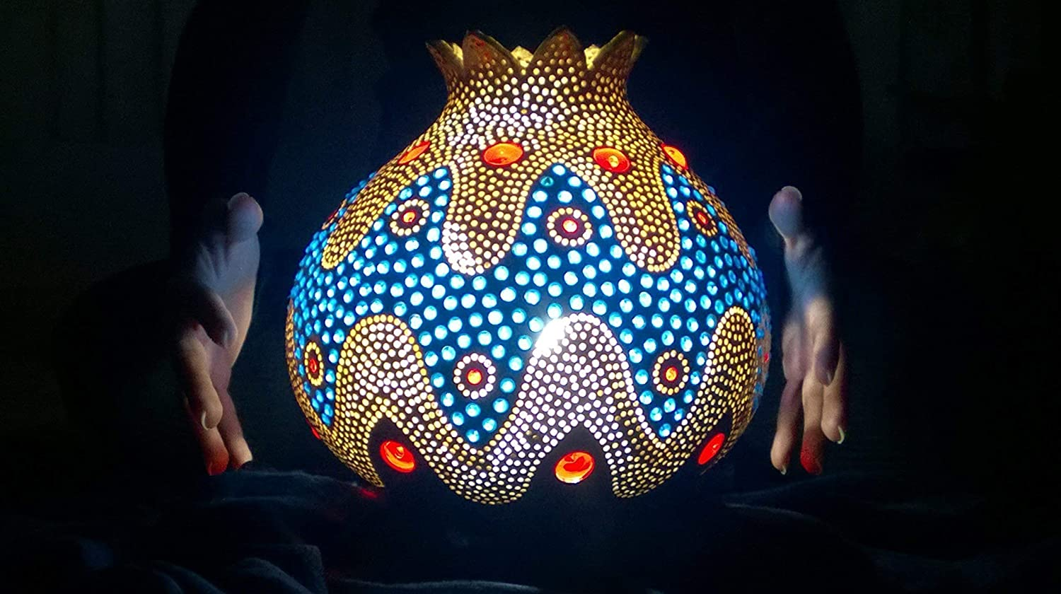 Now Larger Size Best Seller A Bohemian Enigma | Gourd Lamp Night Light Unique Interior Home Decor Birthday Gift Idea