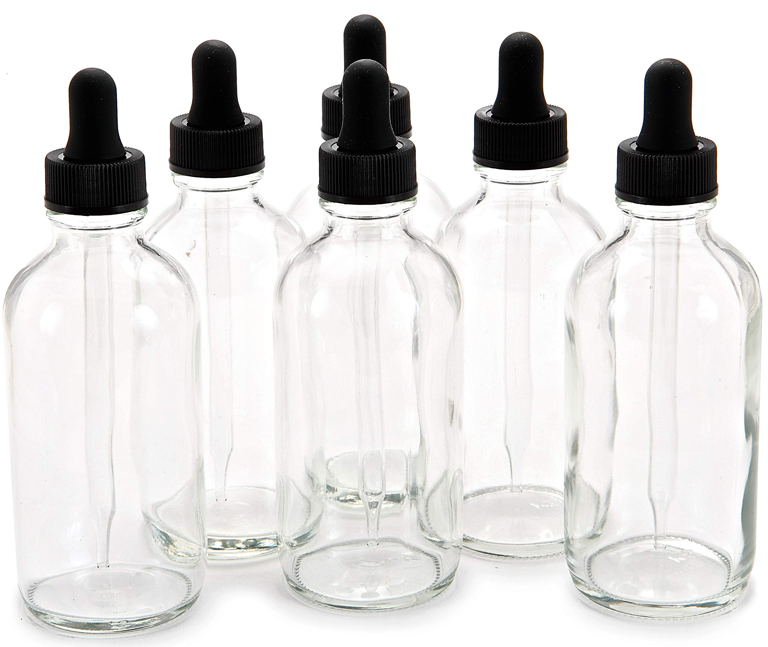 Vivaplex, 6, Clear, 4 oz Glass Bottles, with Glass Eye Droppers