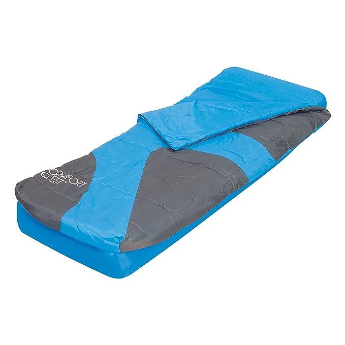 Bestway Set Aslepa - Colchón de camping hinchable, 191 x 137 x 22 cm y saco de dormir con bajera: Amazon.es: Deportes y aire libre