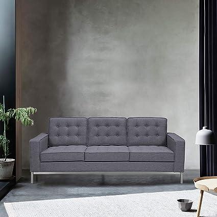 Amazon.com: Armen Living LCCH3GR Chandler Sofa Dark Gray ...