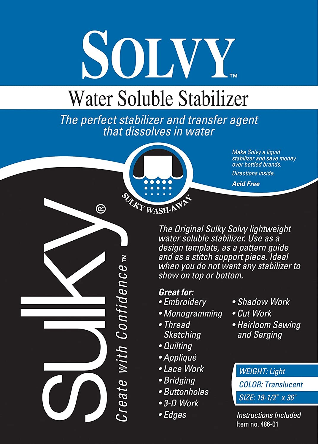 Sulky Solvy Water Soluble Fabric Stabilizer, 19-1/2-Inch by 3-Yard Notions - In Network 486-03