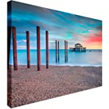 The Old Derelict West Pier In Brighton At Sunset | 12x16 Canvas Wall Art Print - Long Lasting High Quality Wooden Frames