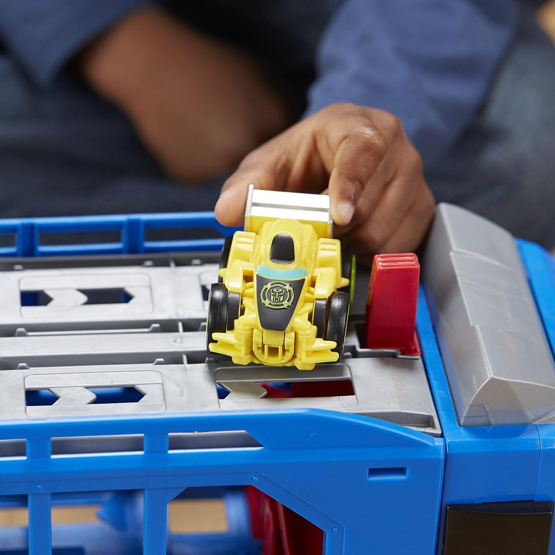 Playskool Heroes Transformers RBT Optimus Prime Race Track Trailer Playset Hasbro with 2 Bonus vehicles