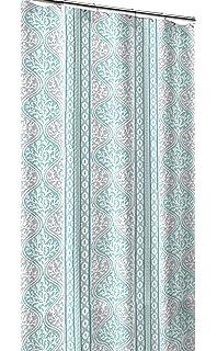 CHD Home Teal Aqua Blue Grey White Canvas Fabric Shower Curtain Beach Coral Geometric Stripe
