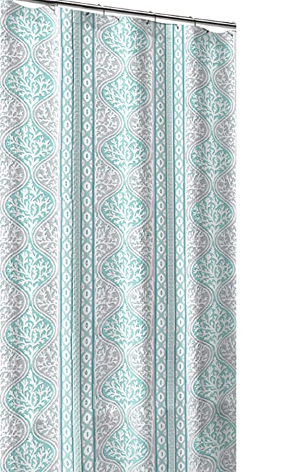 CHD Home Teal Aqua Blue Grey White Canvas Fabric Shower Curtain Beach Coral Geometric Stripe