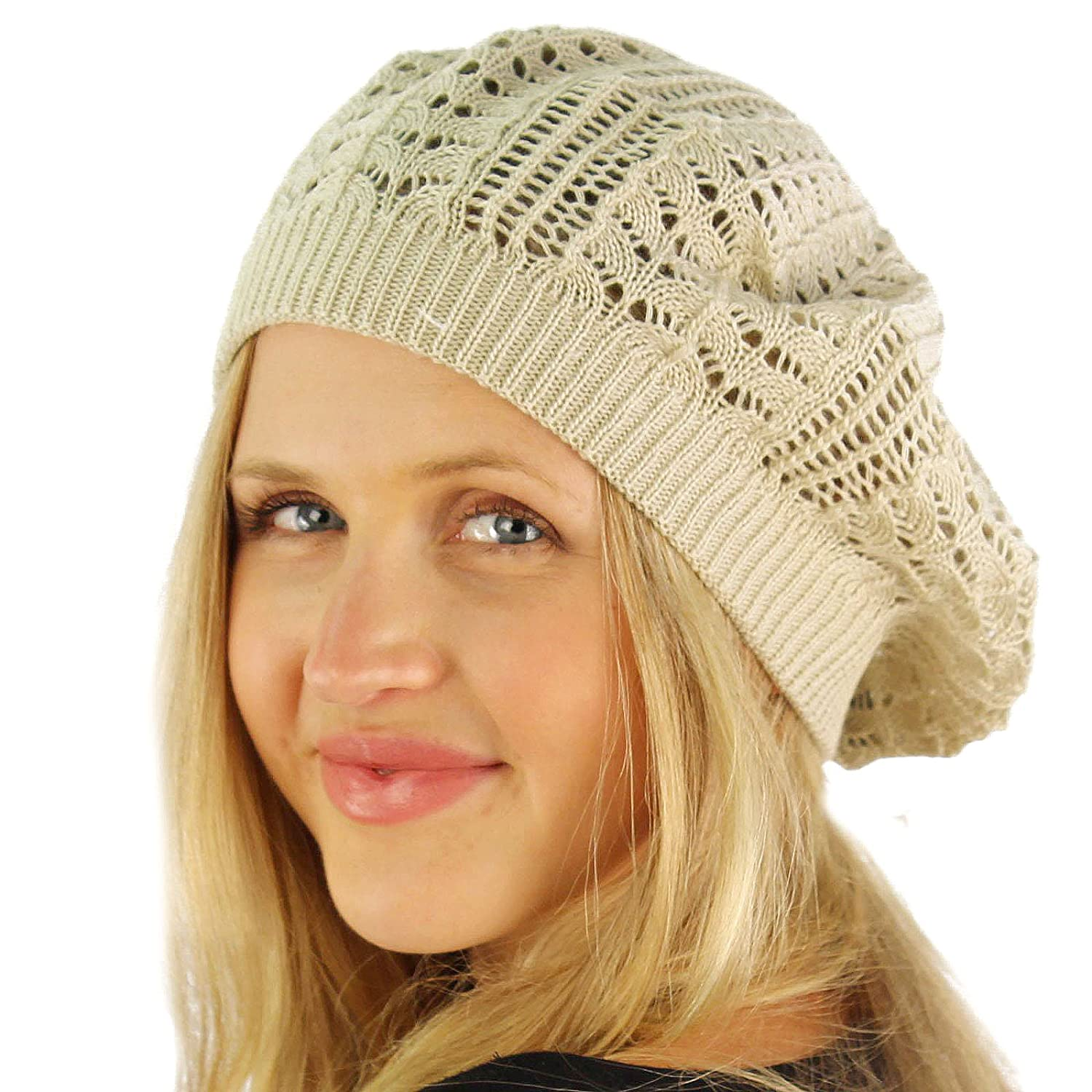 Ladies Crochet Knit Light Weight Vented Beret Slouch Hat