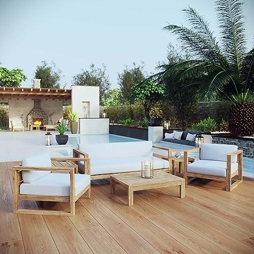Modway Upland Teak Wood Outdoor Patio 6-Piece Sectional Sofa Set