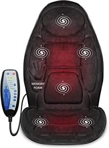 Snailax Memory Foam Massage Seat Cushion - Back Massager with Heat,6 Vibration Massage Nodes & 2 Heat Levels, Massage Chair Pad for Home Office Chair