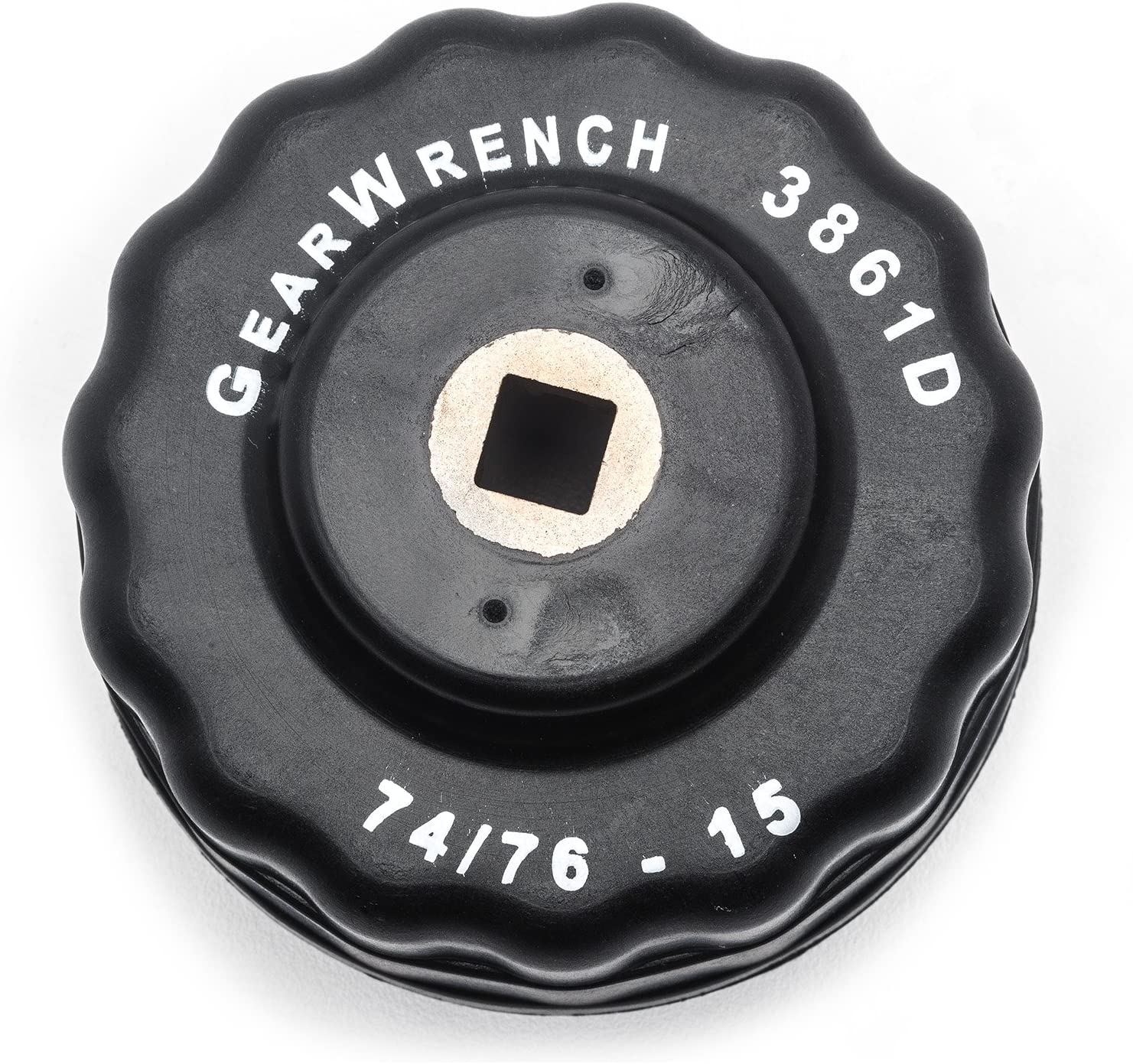 GEARWRENCH 3861D 3//8 Drive 15 Flute Oil Filter End Cap Metric Wrench 74 /& 76mm, Black Apex Tool Group