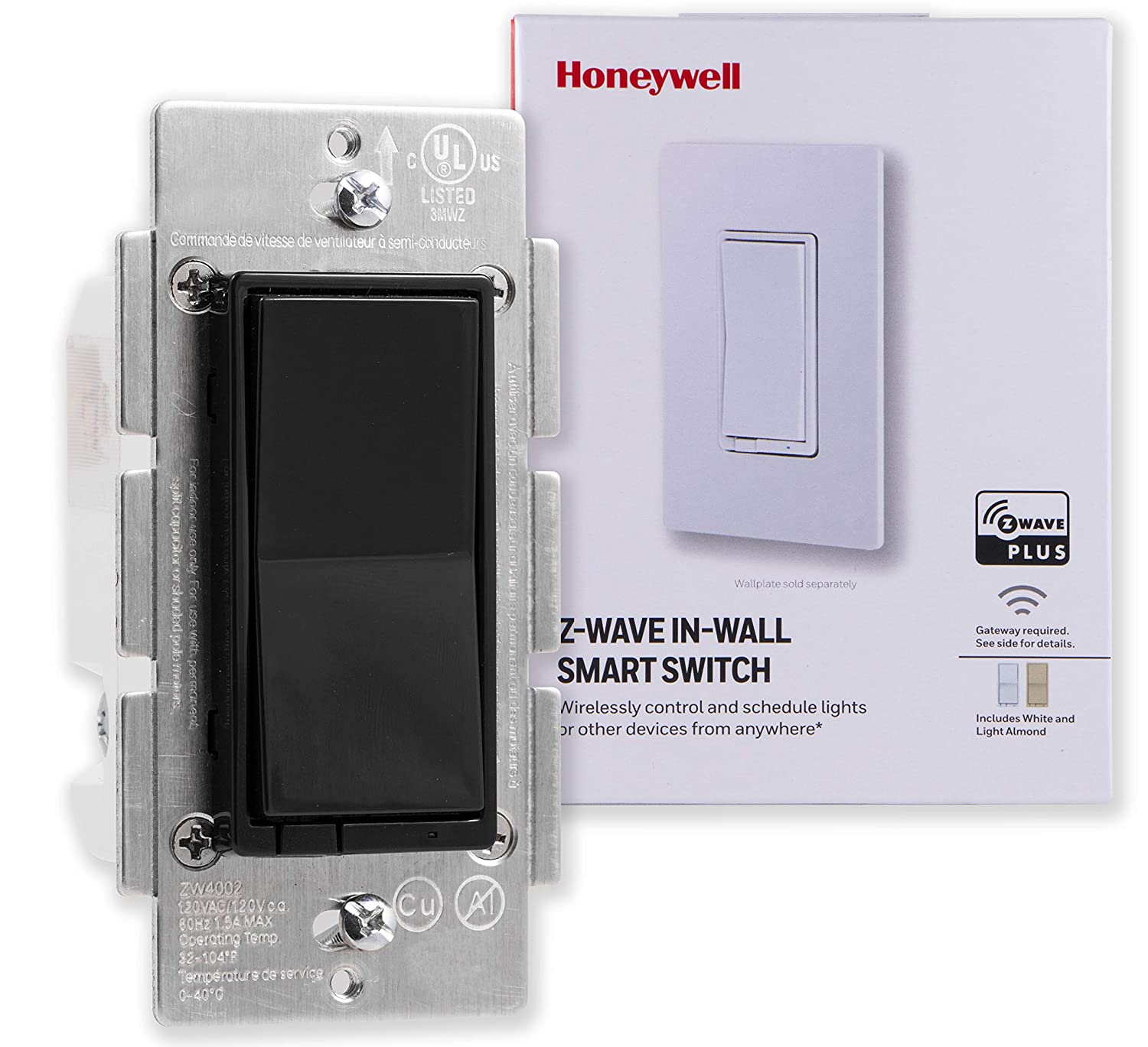 Honeywell Z-Wave Plus On/Off Smart Light Switch, in-Wall Paddle, Black   Built-in Repeater & Range Extender   ZWave Hub Required-SmartThings, Wink, Alexa Compatible, 38210, White & Light Almond