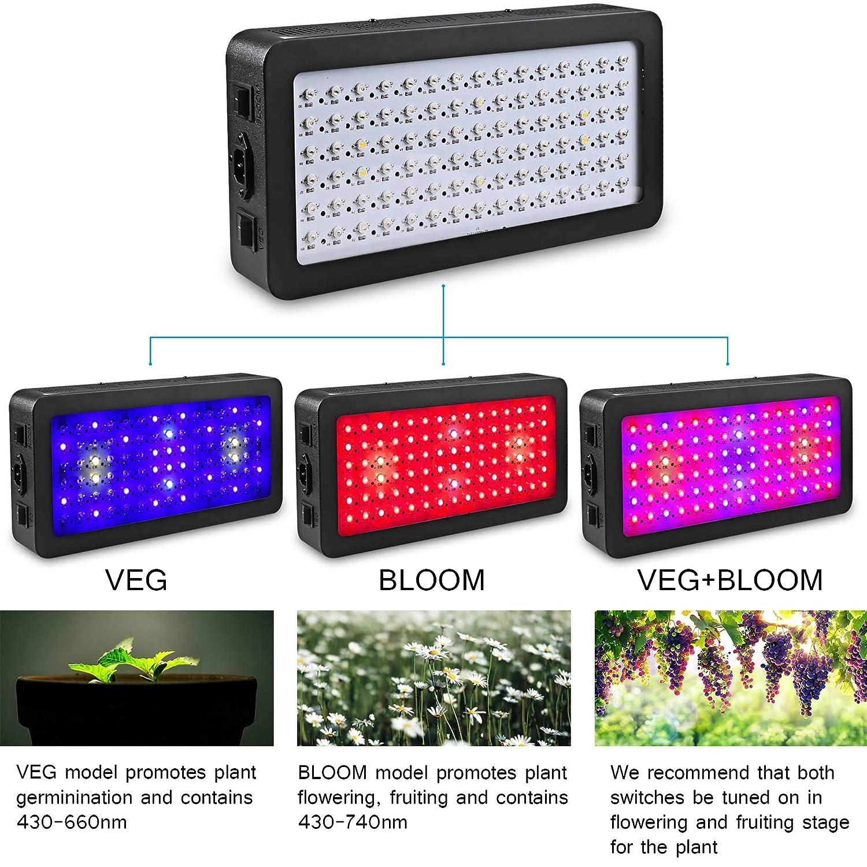1200W 1200W Full Spectrum Indoor Plants Garden UV Red Blue for Vegetable /& Bloom Flower Adjustable,Switch Light. Goyaesque LED Grow Light Greenhouse