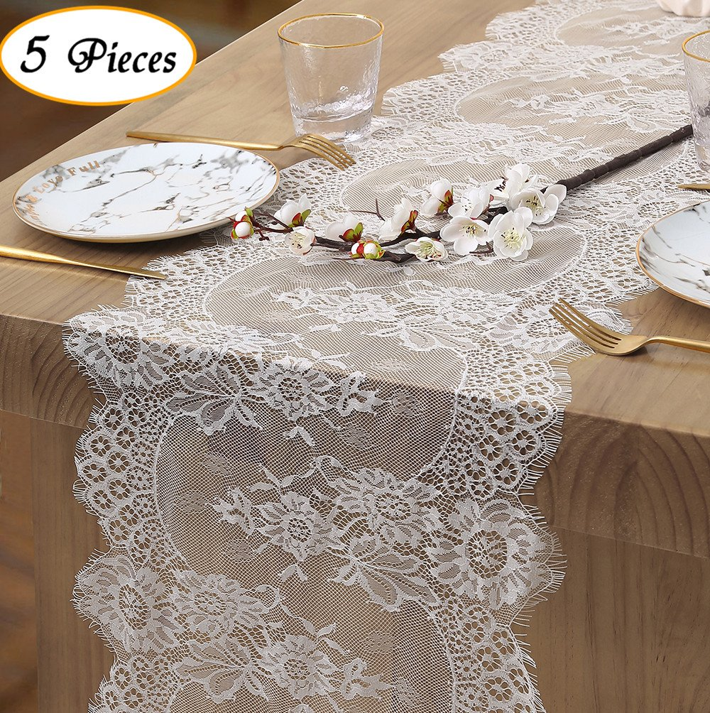 White Lace Table Runner Chic lace table linens Vintage Embroidered Lace Trim for Wedding Spring Summer Outdoor Garden Tea Party Size 12'' X 120''(5 pieces Included)