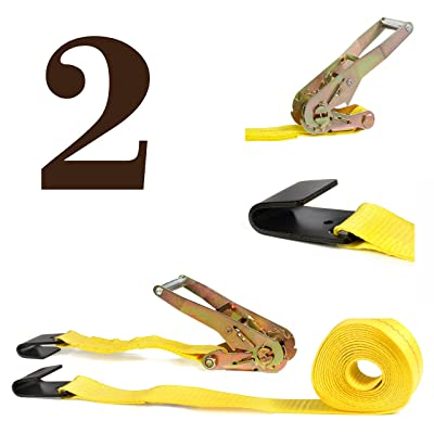"Two Ratchet Strap Tie-Downs, 2"" x 27' Heavy-Duty Flat Hook Trailer Straps 
