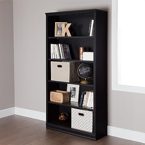 South Shore Morgan 5 Shelf Bookcase, Black Oak