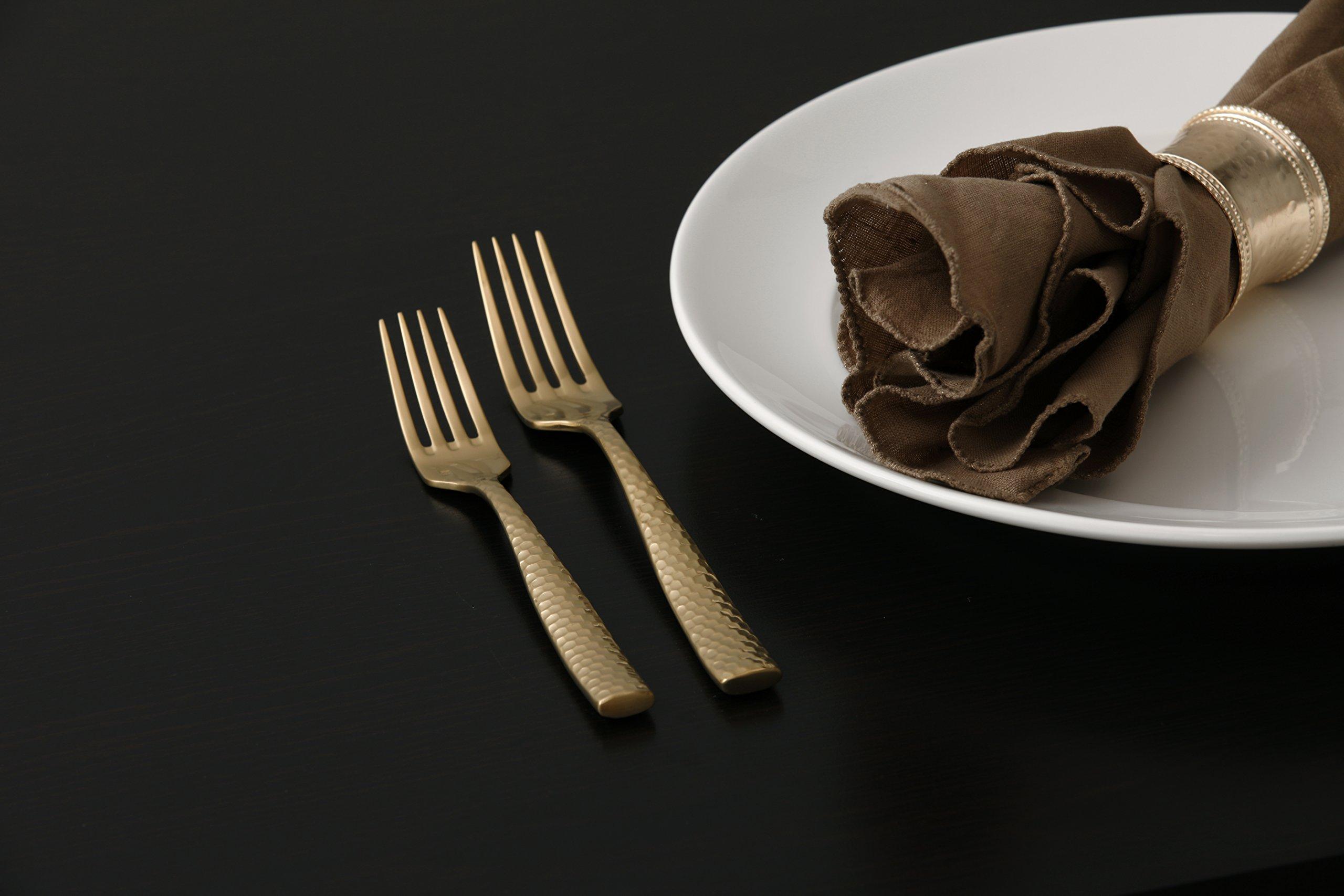 Fortessa Lucca Faceted 18/10 Stainless Steel Flatware, Salad/Dessert Fork, 7'', Set of 12, Brushed Gold