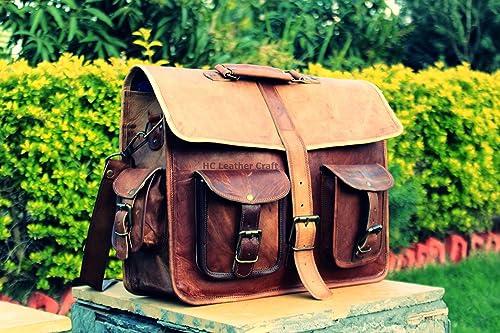 Leather Saddler Men s Vintage Messenger Bag Shoulder Laptop Briefcase Fits Upto 15.6 Inch Laptop