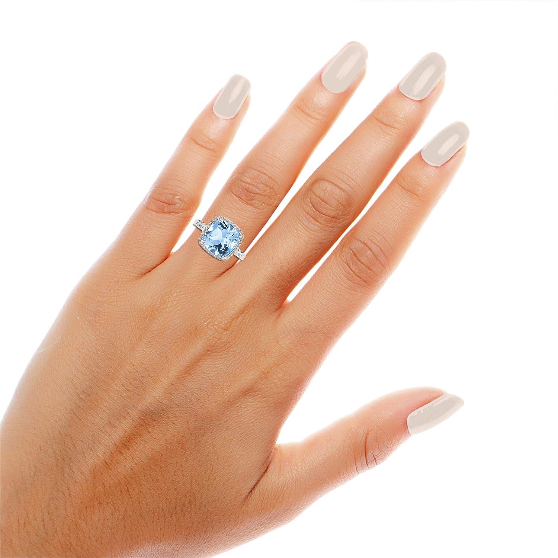 NATALIA DRAKE Cushion Cut Blue Topaz /& White Sapphire Halo Diamond Fashion Cocktail Ring /…