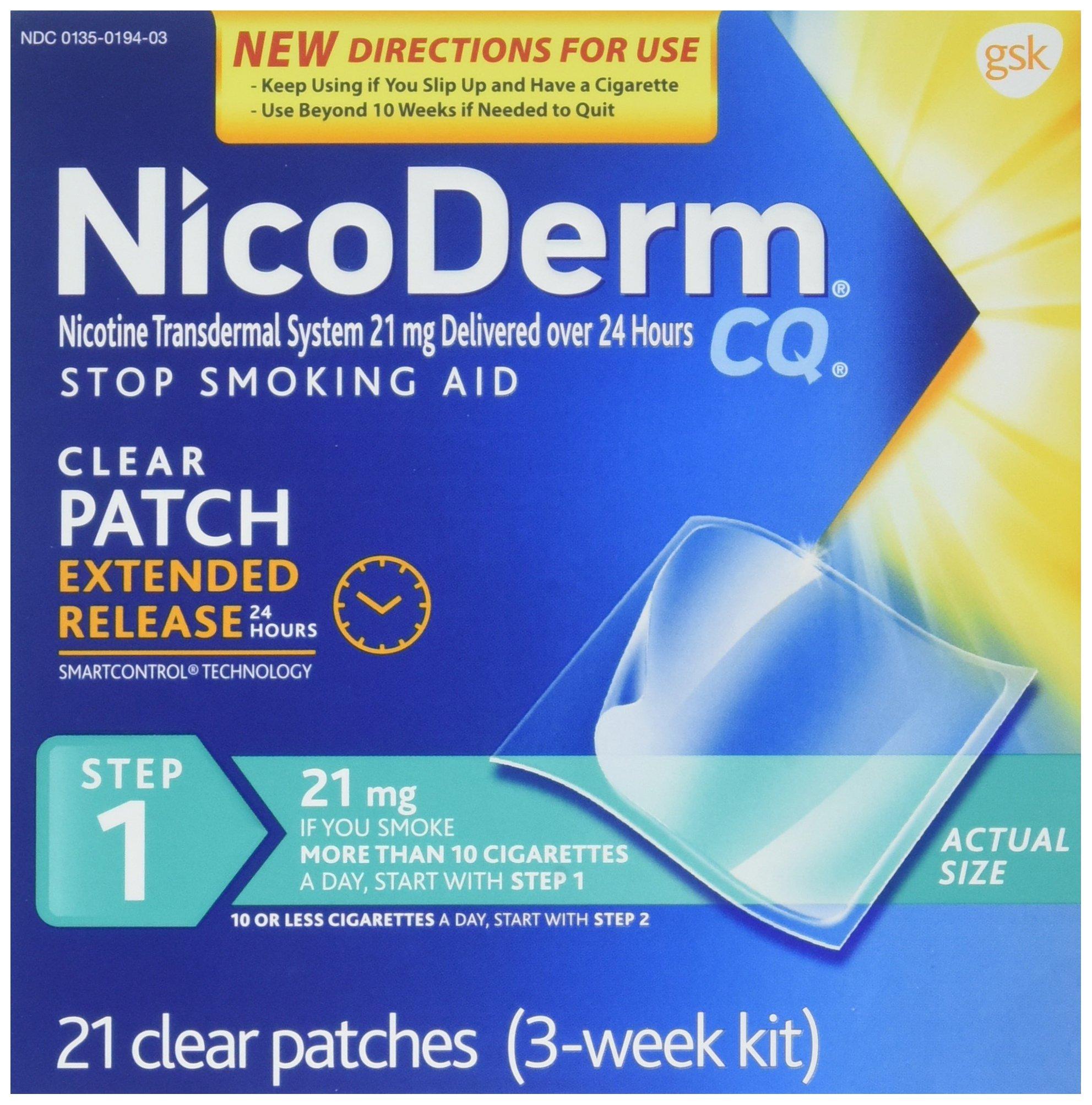 NicoDerm CQ STEP 1 - 3 Week Kit - 21 Clear Nicotine Patches by NicoDerm CQ