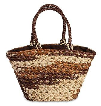 Korbtasche Maisstroh geflochten mit Schleife Einkaufskorb gef/üttert mit Zugband verschlie/ßbar Farbe braun