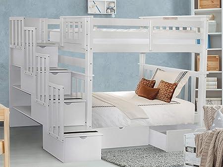 Bedz King - Litera para escalera con 4 cajones en los escalones y 2 cajones debajo de la cama, color blanco: Amazon.es: Hogar