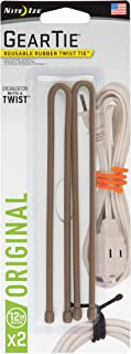 product image for Nite Ize Original Gear Tie, Reusable Rubber Twist Tie, 12-Inch, Coyote, 2 Pack, Made in The USA (GT12-2PK-29)