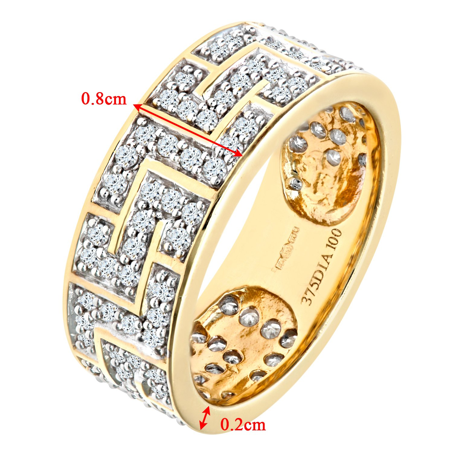e08388bd0 Naava Bague Homme - Or jaune (9 cts) 5 Gr - Diamant 0.01 Cts: Amazon ...