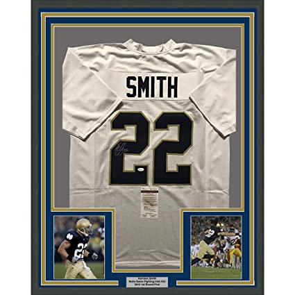 separation shoes 4e3b8 dc9f7 Framed Autographed/Signed Harrison Smith 33x42 Notre Dame ...